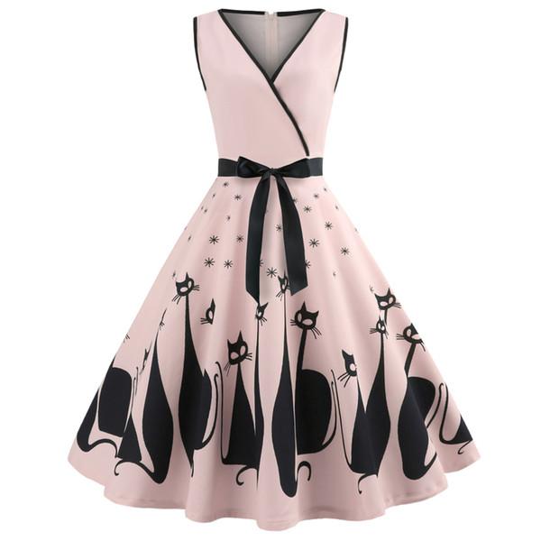 Kenancy Audrey Hepburn 1960s Party Dress Sexy V Neck Sleeveless Belt Women Retro Dress Cat Print Rockabilly Swing Vestido Robe