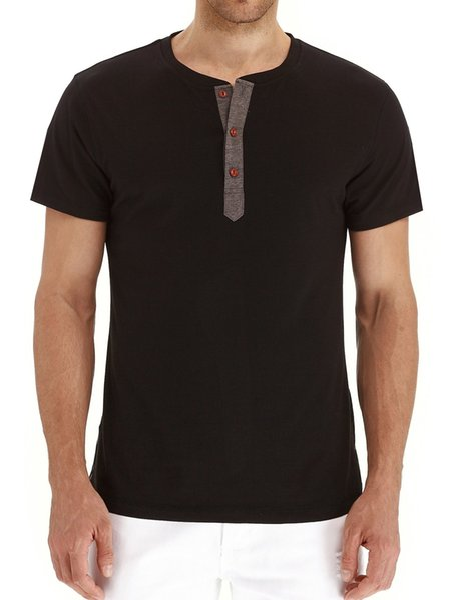 Camisetas de verano con botón Camiseta negra Manga corta Hombre Tops Camiseta Camiseta de diseño casual