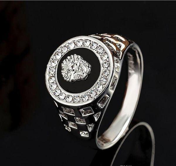 top popular Men's Gothic Lion Ring Punk Vintage Antique Mens Luxury Jewelry Skeleton Bike Gold plated Ring for Men 2021