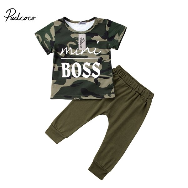 2pcs casual newborn toddler baby kid boys camo short sleeve t-shirt long pants outfits clothes set thumbnail