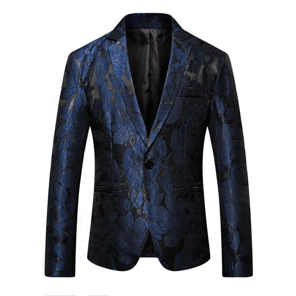 2019 Blazer Men Slim Fit Pattern Print Suit Jacket Men Prom Blazer For Designer Casual Long Sleeve Coats Jackets