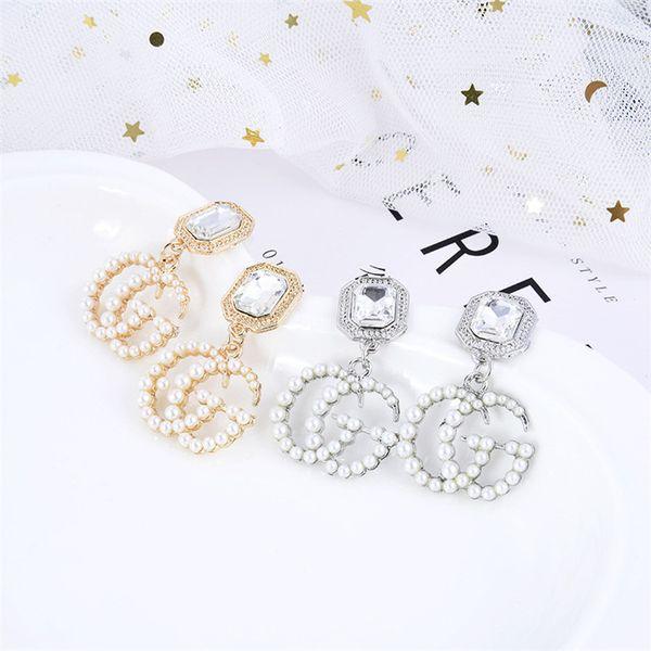 Tempérament de mode de haute qualité perle cristal lettre femelle stud boucles d'oreilles simple tendance dame boucles d'oreilles oreille bijoux