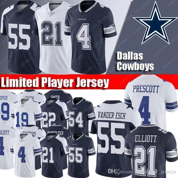 on sale 46ae2 56e44 2019 Dallas Cowboys Jerseys 21 Ezekiel Elliott Jersey 55 Leighton Vander  Esch Jerseys 4 Dak Prescott Jersey 19 Amari Cooper 90 DeMarcus Lawrence  From ...