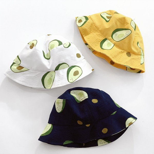 Parent-child Men Women Baby Hat New Cute Fun Avocado Embroidery Fisherman Hat Outdoor Leisure Sunshade Cap Bucket Hat Beanies