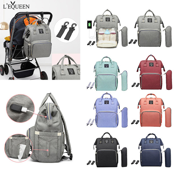 LEQUEEN Maternity Waterproof Diaper Bag USB Charging Large Capacity Mummy Nursing Backpacks Nappy Bag Baby Care Organizer