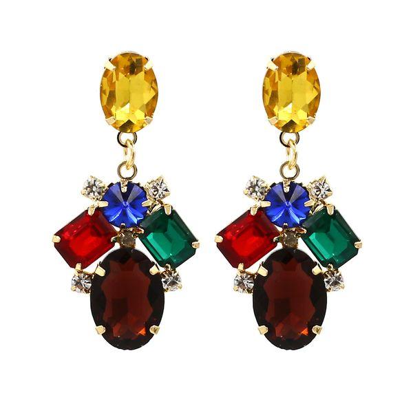 Fashion Multicolore Boucle d/'oreille Bijoux Dangle Long Drop Gem Alliage Cristal Boucles D/'oreilles