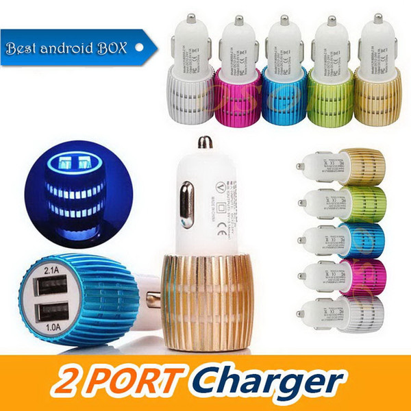 Universal USB Car Charger Socket 2 Port Charger Adapter Aluminum Alloy 2 USB Car charger For iPhone Samsung Cellphones