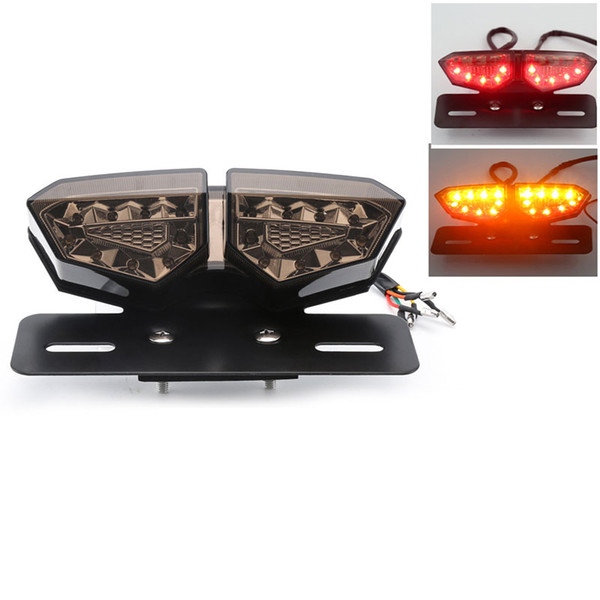 Motorcycle Taillight 12V LED Turn Signal Rear Brake Lights Motocross License Plate Light Flasher