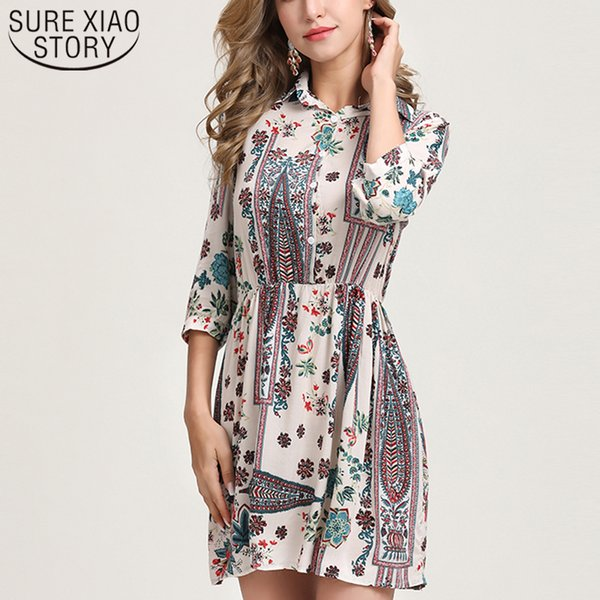 6572869804 Plus Size Women Dress Women Elegant Dress Floral 2019 Summer Clothes  Printed Five-point Sleeves