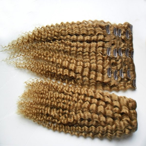 Light Golden Brown Cor Malaio Kinky Curly Hair Weaving 100% Cabelo Humano Weav 10-30 Polegada Clipe No Cabelo