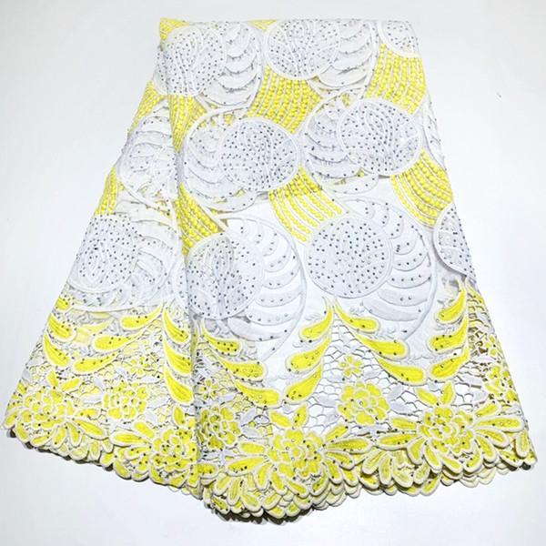 Tela de encaje de boda de alta calidad neta africana Nuevas Piedras de Nigeria Tul Malla de encaje Blanco + Amarillo Color Vestido de dama Material de encaje