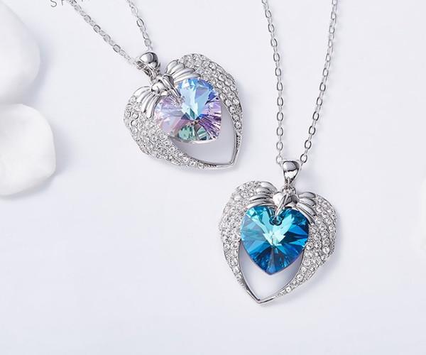 Collana di cristallo di design collana di alta qualità collana di cristallo cuore di cristallo austriaco accessori moda di angelo trasporto libero 0712