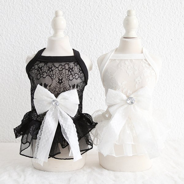 White Lace Fairy Bow Dress Breathable Fairy Pet Skirt Princess Style Pet Apparel Suitable For Photography Wedding Size XS-XL