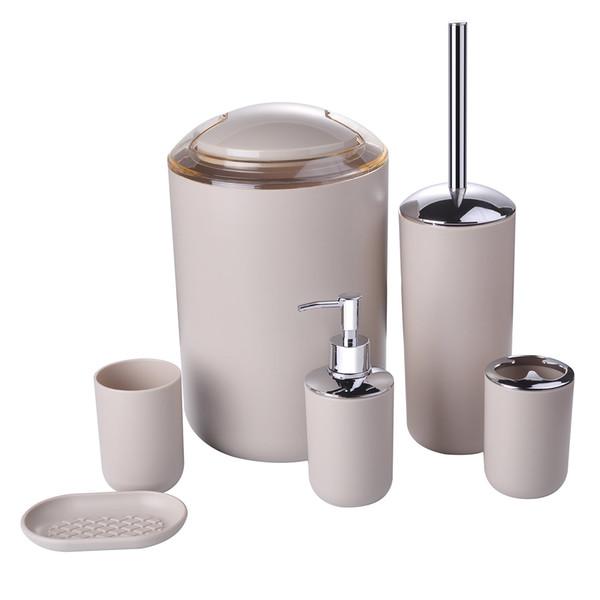 6 PCs de plástico acessórios do banheiro suíte de banho de luxo acessórios chuveiro kit garrafas de leite, escovas de dentes, canecas de dente, caixas de sabão, toalete b