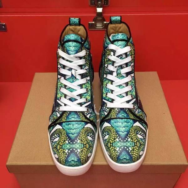 2019 high quality new packaging box Green snakeskin leather High help Men's shoes sneakers