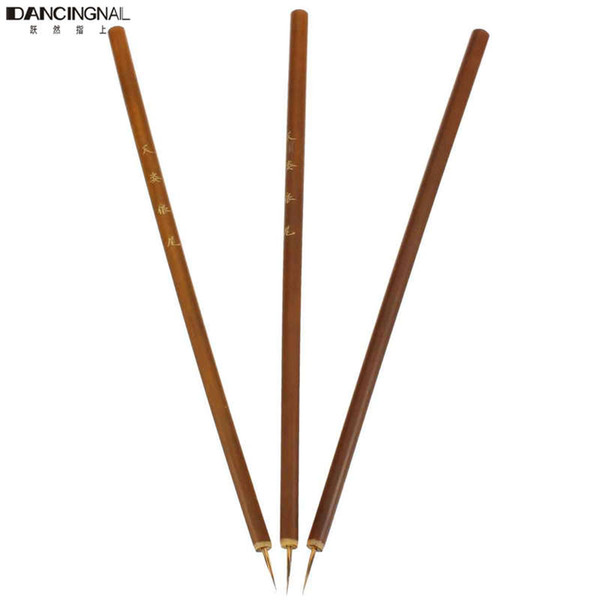 New 3 Pc Weasel Acrylic Nail Brush Liner Pen Painting Delicate Bamboo Drawing Nails Tool Art Finger Brushes