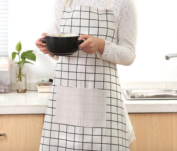 Grembiule da cucina a prova di olio cucina casa metà grembiule all'ingrosso grembiule di cotone giapponese arte pianura grembiule