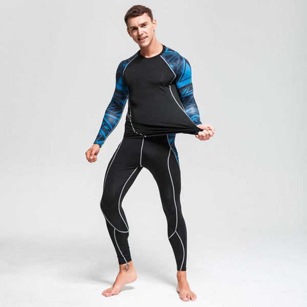 мужская одежда для фитнеса 2 шт спортивный костюм мужской волк с 3D-принтом футболка с длинными рукавами MMA леггинсы компрессионный костюм S-4XL