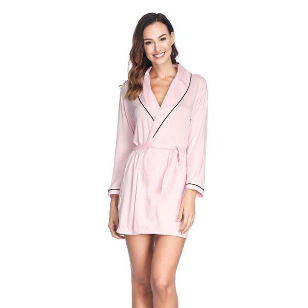 Haute Qualité et Exquis Bordure Modaier Robe Lady Neuf Manches Ceinture Robe De Matin À La Maison Costume D'été Sous-Vêtements Femmes
