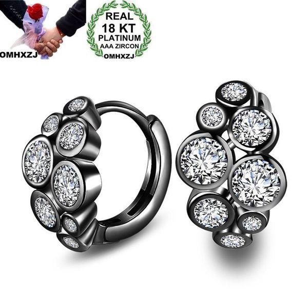 OMHXZJ Personalità all'ingrosso Moda Donna Ragazza geometrica rotonda Zircone 18KT oro bianco nero orecchini a cerchio in oro YE426