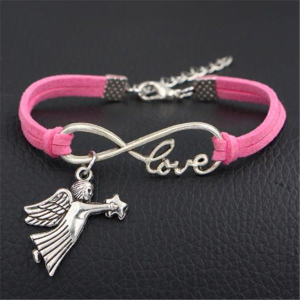 New Fashion Infinity Love Star Fly Angel Wing Pendant Charm Bracelets & Bangles Women Men Handmade Dark Pink Leather Suede Rope Jewelry Gift
