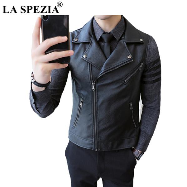 LA SPEZIA Mens Waistcoat Black Biker Vests Male Motorcycle Punk Zip Plain Slim Fit Faux Leather Rock Spring Sleeveless Jackets