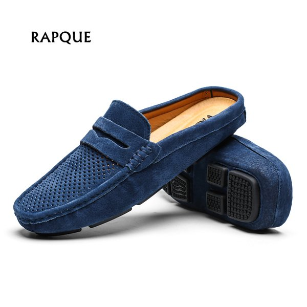Men Shoes mens loafers half genuine leather holes swede hand made driving walking shoes casual flats clogs Leisure big size 46
