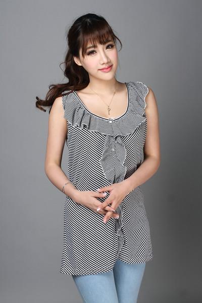 U.S. exports Summer New fashion woman flounced Blouse sleeveless black and white striped cotton shirt plus size