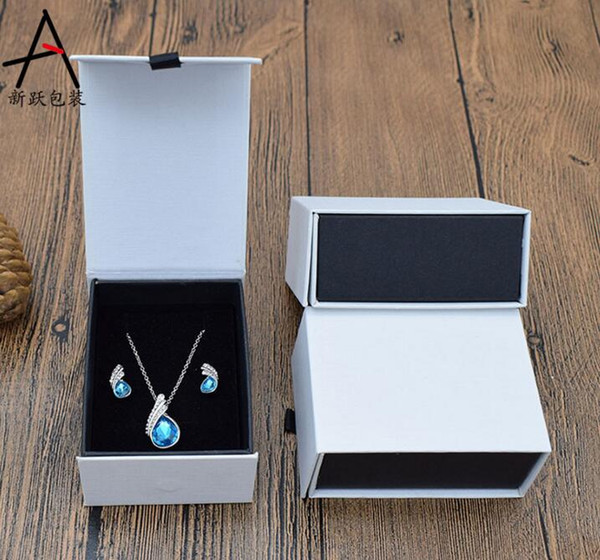120pcs/lot White Ring Box wtop and bottom 7*9*4CM Ring Necklace Earring Boxes Jewelry Packaging Display Carrying Case Gift Boxes