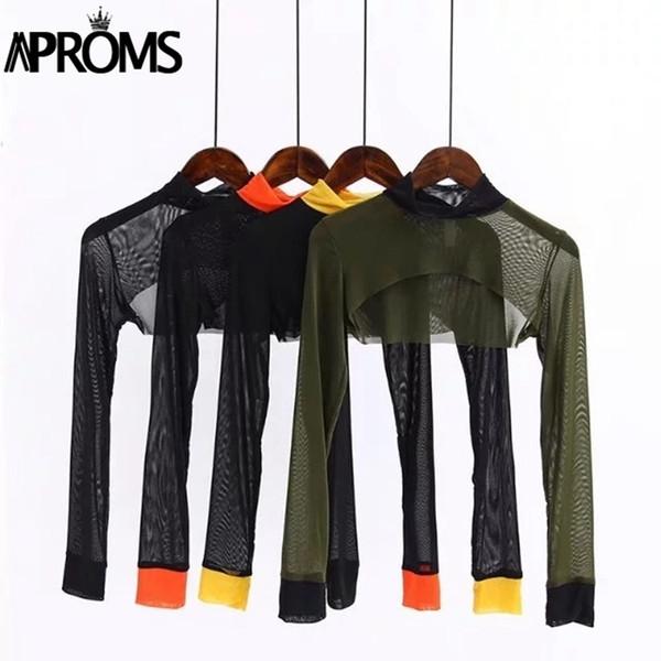 Aproms Yellow Black Blocked Turtleneck Mesh Crop Women Summer Top Cool Gilr Short Tshirt Casual Long Sleeve Sheer Tee Female C19042301