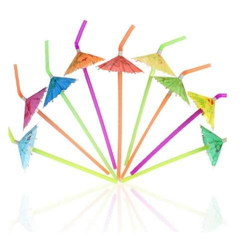 50PCs/ Pack Tropical Umbrella Straws Disposable Bendable cocktail vinho Drinking Straws for Party Bar Wine Styling Decoration