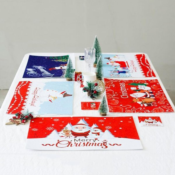 magideal christmas placemat cup mat set waterproof felt table mat christmas table decoration