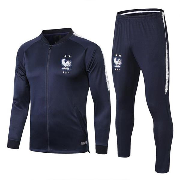Treino de treino de vermelhidão 2star francês 18 19 maillot de foot Treino de treino de futebol nacional francês mangas compridas treino jaqueta de futebol pan