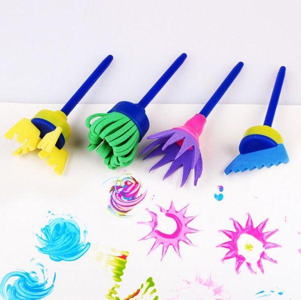 New Fashion 4Pcs/Set Drawing Toys Funny creative toys for kids diy flower Graffiti sponge Art Supplies Brushes Seal Painting Tool