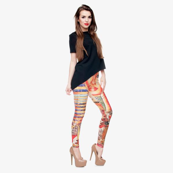 Leggings Femme Pharaon 3D Numérique Pleine Impression Confortable Pantalon De Yoga Lady Fitness Workout Crayon Fit Filles Skinny Sport Gym Jeggings (Y30524)