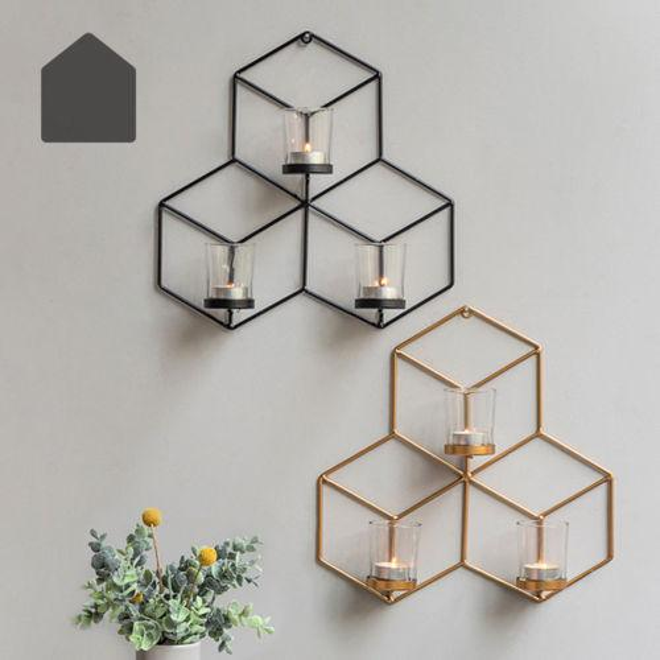 DIY Wall Mounted 3D Geometric Candlestick Tea Light Candle Holder Metal Candlestick Home Decor NEW