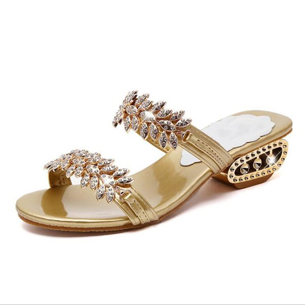 New 2019 Women Sandals Crystal Fashion Women Beach Slippers Wedges Solid Casual Sandals For Women Size 34 - 41 Y19070303