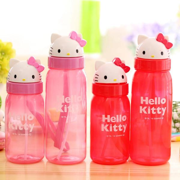 350 ml hallo kitty childeren baby kinder mädchen student niedlich rosa rot cartoon saug pp wasserkocher tasse sport außentür flaschen