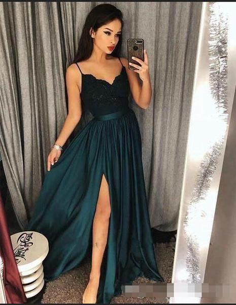Dark Green Chiffon Split Prom Dresses A-Line Lace Top Sexy Spaghetti Arabic Formal Party Prom Dress Evening Gowns