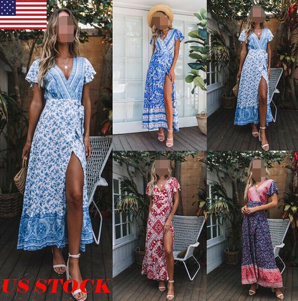 2019 Fashion Boho Floral Dress Women Vintage Short Sleeve Floral Split V Neck Evening Party Summer Lady Beach Long Maxi Dress