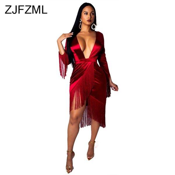 Derin v yaka kadife seksi orta buzağı dress tassles uzun kollu bandaj bodycon dress kadınlar kırmızı ön çapraz clubwear artı boyutu dress