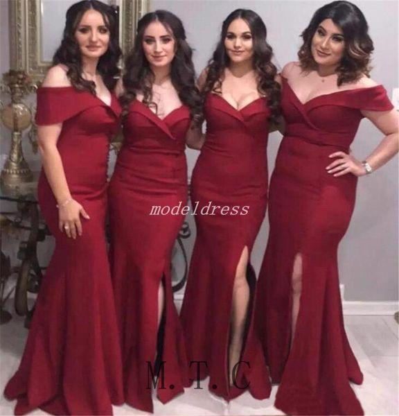 Demoiselle d'honneur arabe rouge foncé sirène robes hors épaule côté Split jardin pays mariage robes de demoiselle d'honneur robe, plus la taille 2019