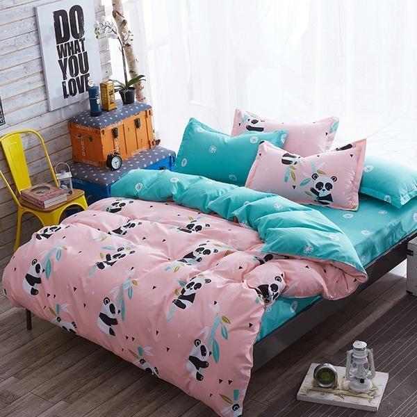 Yatak Dekor Yatak Örtüsü Sevimli Panda Desenleri Yatak Seti 3/4 Adet Nevresim Seti