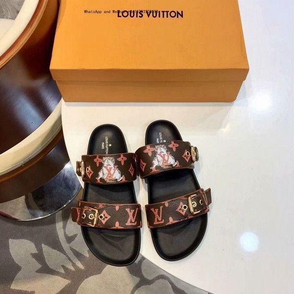 Pantofole da donna marca 2019 Slide Infradito classico da donna in pelle con catena da donna