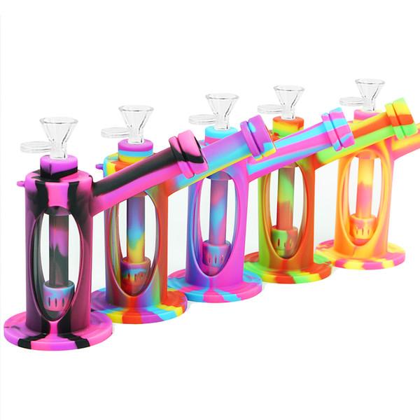 7 '' dab rig heady vetro bong tubo di acqua tubo di vetro spesso tubo di fumo FDA narghilè silicone shisha becher con strumento dab