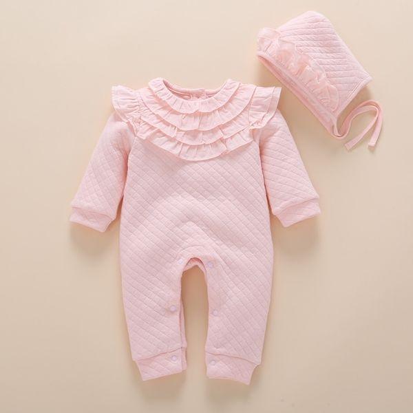 d691f1e8f Recién nacido Otoño Invierno Cordón Grueso Mameluco Bebé Niñas Rosa Aire Algodón  Mamelucos Calientes + niños Sombrero Ropa de Bebé Infantil Mono Mono ...