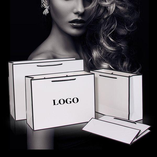 New Creative design Black border White kraft paper bag with handle Wedding Party Favor Paper Gift Bags Custom logo