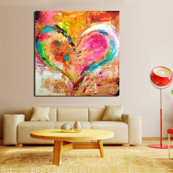 Großhandel 1 Stück Bunte Herz Malerei Wandbilder Für Wohnzimmer Leinwand  Kunst Wohnkultur Moderne Kein Rahmen Ölgemälde Von Wallstickerworld, $27.73  ...