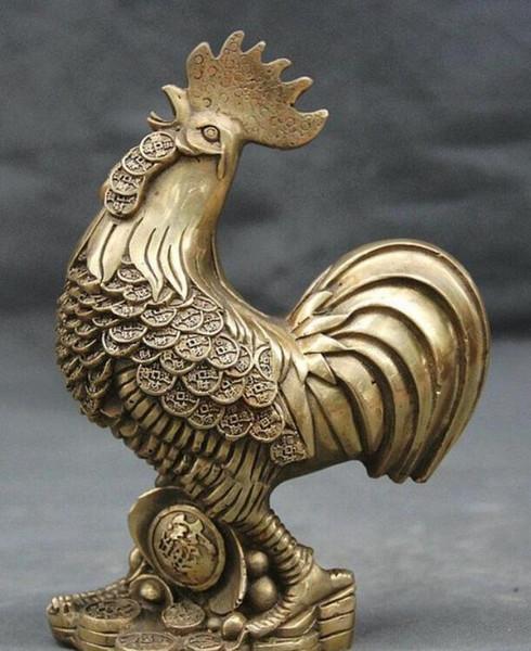 NEW++Chinese Feng Shui Brass Zodiac Year Cock r Coin Wealth Yuan Bao Statue