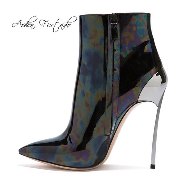 Arden Furtado 2019 primavera autunno tacchi a spillo stiletti punta a punta cerniera moda stivaletti tacchi in metallo stivaletti di grandi dimensioni 44